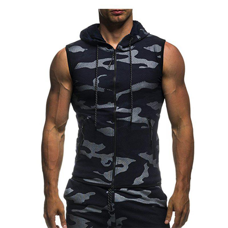 2018 New Camouflage Digital Printing Zipper Casual Slim Sleeveless Hoodie - DEEP BLUE L