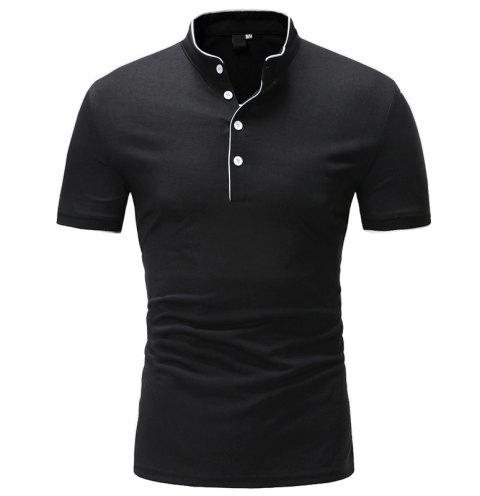 Clip Strip Slim Pure Color Casual Short Sleeve Stand Collar T-Shirt - BLACK L