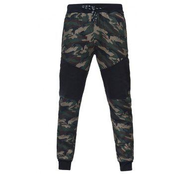 Camo Stitching Casual Sports Trousers - CAMOUFLAGE GREEN 2XL