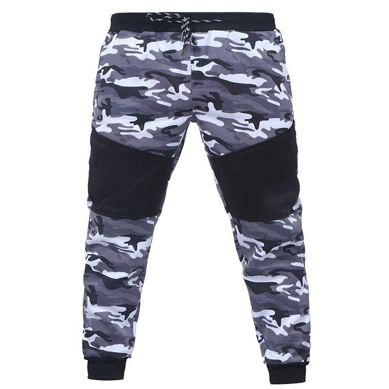 Camo Stitching Casual Sports Trousers - GRAY 2XL