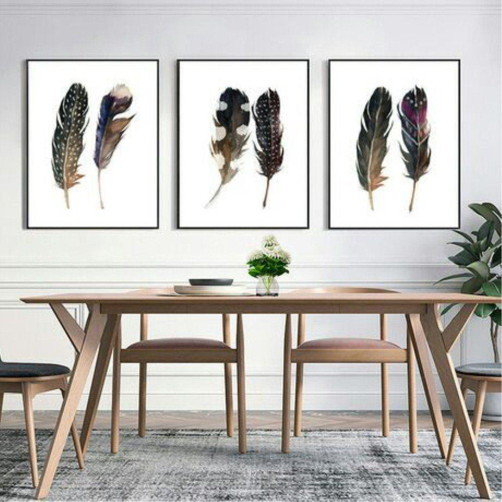 New Nordic Creative Living Room Feather Decoration Oil Painting 3PCS nordic geometric cafe chandelier simple restaurant bar lamp creative office light living room decoration lamp free shipping
