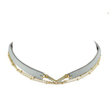 Various Colors PU Leather Choker Necklace - SILVER