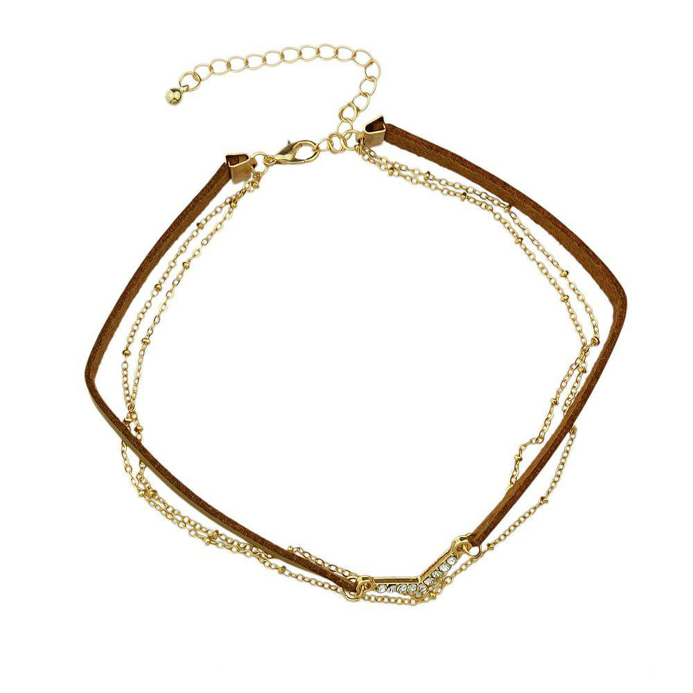 Various Colors PU Leather Choker Necklace - GOLD