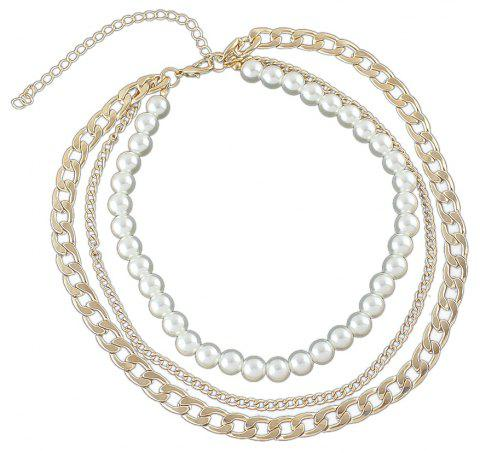 Silver Gold-color Chain with Simulated-pearl Statement Necklace - GOLD
