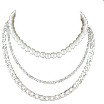 Silver Gold-color Chain with Simulated-pearl Statement Necklace - SILVER