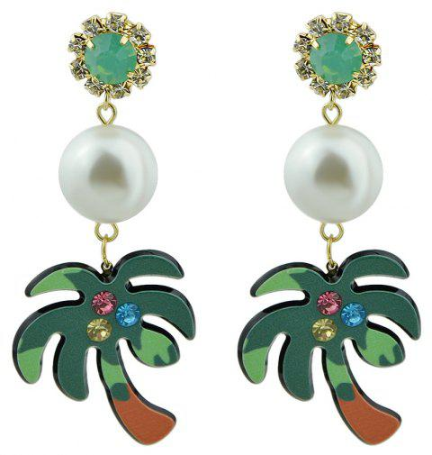 Green Brown Color Acrylic Coconut Tree Drop Earrings - SEA GREEN