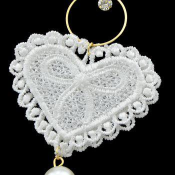 White Hollow-out Lace Pendant Earrings - WHITE
