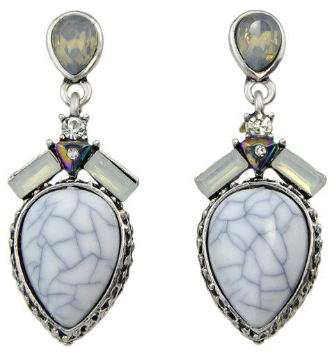 Antique Silver Color with White Stone Water Drop Earrings - SILVER