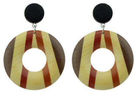 Wood Geometric Pattern Round Hanging Earrings - multicolor B