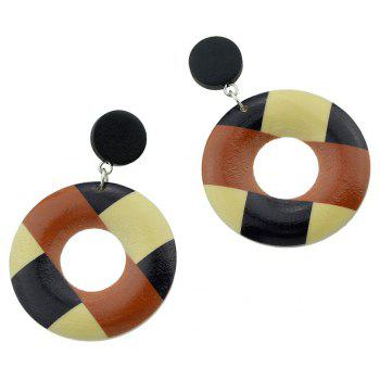 Wood Geometric Pattern Round Hanging Earrings - multicolor A