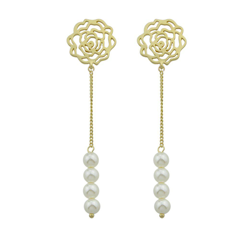 Rose Flower Pattern with Simulated Dangle Earrings - GOLD