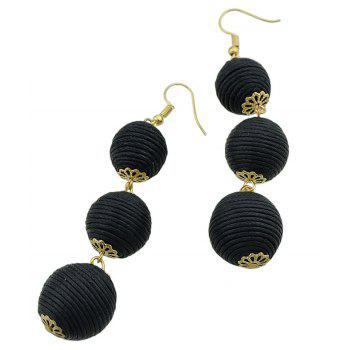 Gold-color Chain Colorful Dangle Earrings - BLACK