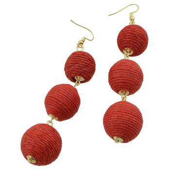 Gold-color Chain Colorful Dangle Earrings - RED