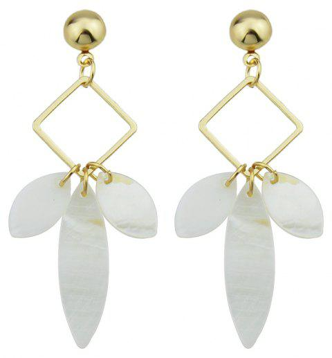 Square with Shell Geometric Pattern Dangle Earrings - GOLD