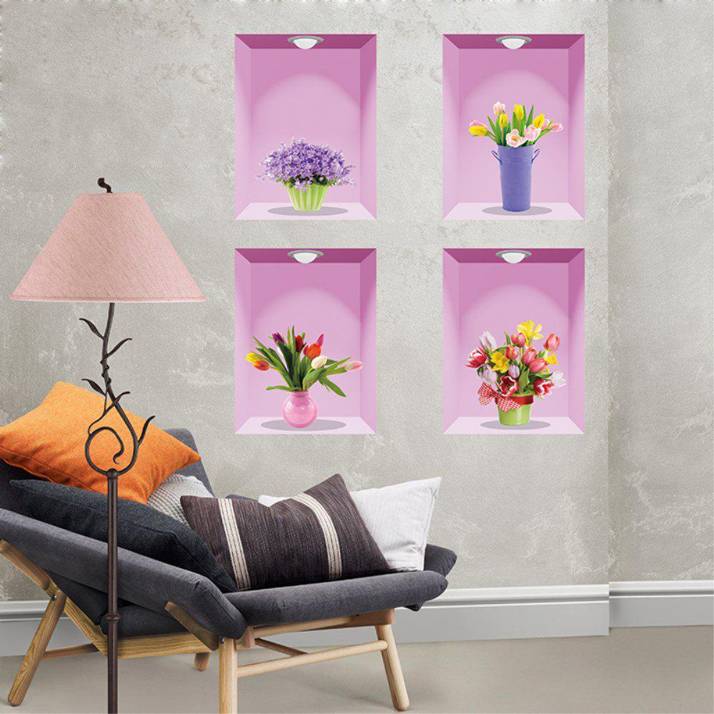 Solid Living Room Bedroom  Vase Wall Sticker - multicolor A