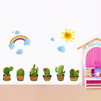 Creative Decorative Cartoon 3D Potted Wall Stickers - multicolor A