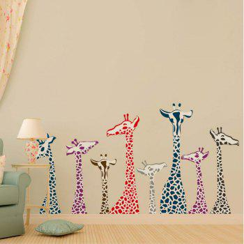 Dimensional Living Room Bedroom Engraving Handmade Giraffe Wall Sticker - multicolor A