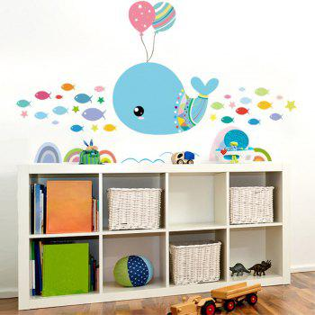 Dimensional Living Room Bedroom Engraving Handmade Whale Wall Sticker - multicolor A