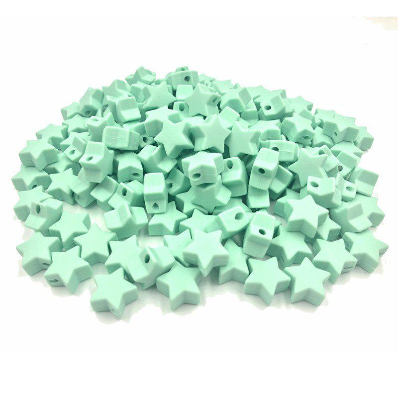 Baby Multicolor Little Star Shape Silicon Beads Stars 10PCS - MINT GREEN