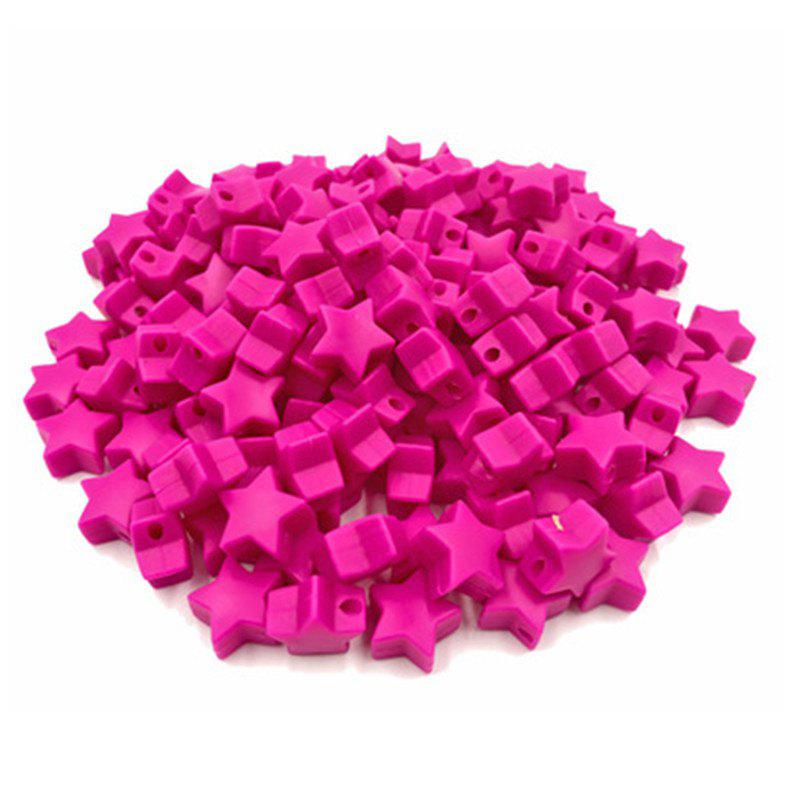 Baby Multicolor Little Star Shape Silicon Beads Stars 10PCS - ROSE RED