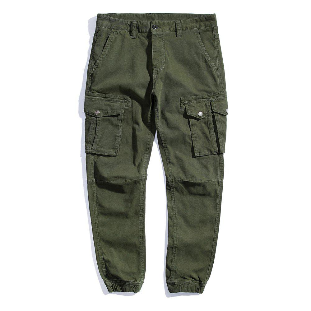 Summer Pure Cotton Trendy Casual Trousers - ARMY GREEN 36