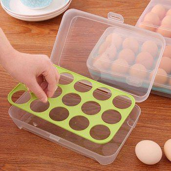 15 Lattice Egg Carton Portable Kitchen Crisper - GREEN YELLOW