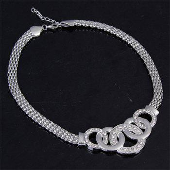 Classic Stainless Steel Chain Bracelet Necklace Jewelry Set Color Silver - SILVER