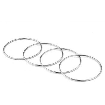 Chinese Linking Rings Magic Stage Trick 10cm Set of 4 Stainless Steel for Kids - WHITE
