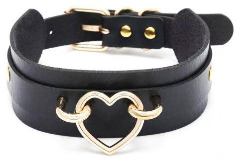 New Style Wild Personality Super Cool Double Deck PU Leather Bound Collar - BLACK