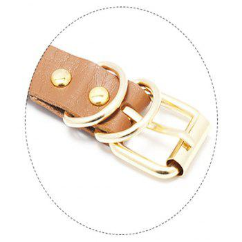 New Style Wild Personality Super Cool Double Deck PU Leather Bound Collar - BROWN SUGAR
