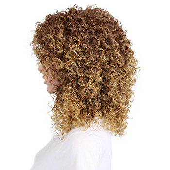 Women Golden Blonde Afro Curly Style Short Hair Synthetic Wig for Party - GOLDEN BROWN 14INCH