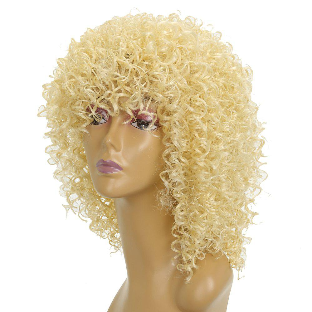 Women Golden Blonde Afro Curly Style Short Hair Synthetic Wig for Party high quality synthetic hair wig women s naturally curly short wig many color for your choose