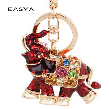 Genuine Dripping Diamond Elephant Car Keychain Girls Bags Pendant Gift Key - BEAN RED
