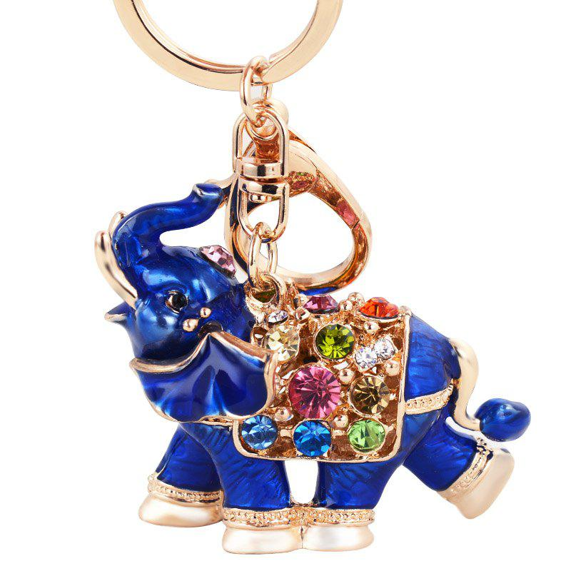 Genuine Dripping Diamond Elephant Car Keychain Girls Bags Pendant Gift Key - BLUE GRAY