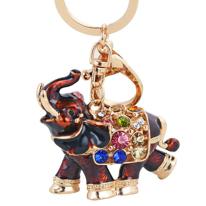 Genuine Dripping Diamond Elephant Car Keychain Girls Bags Pendant Gift Key - BLOOD RED