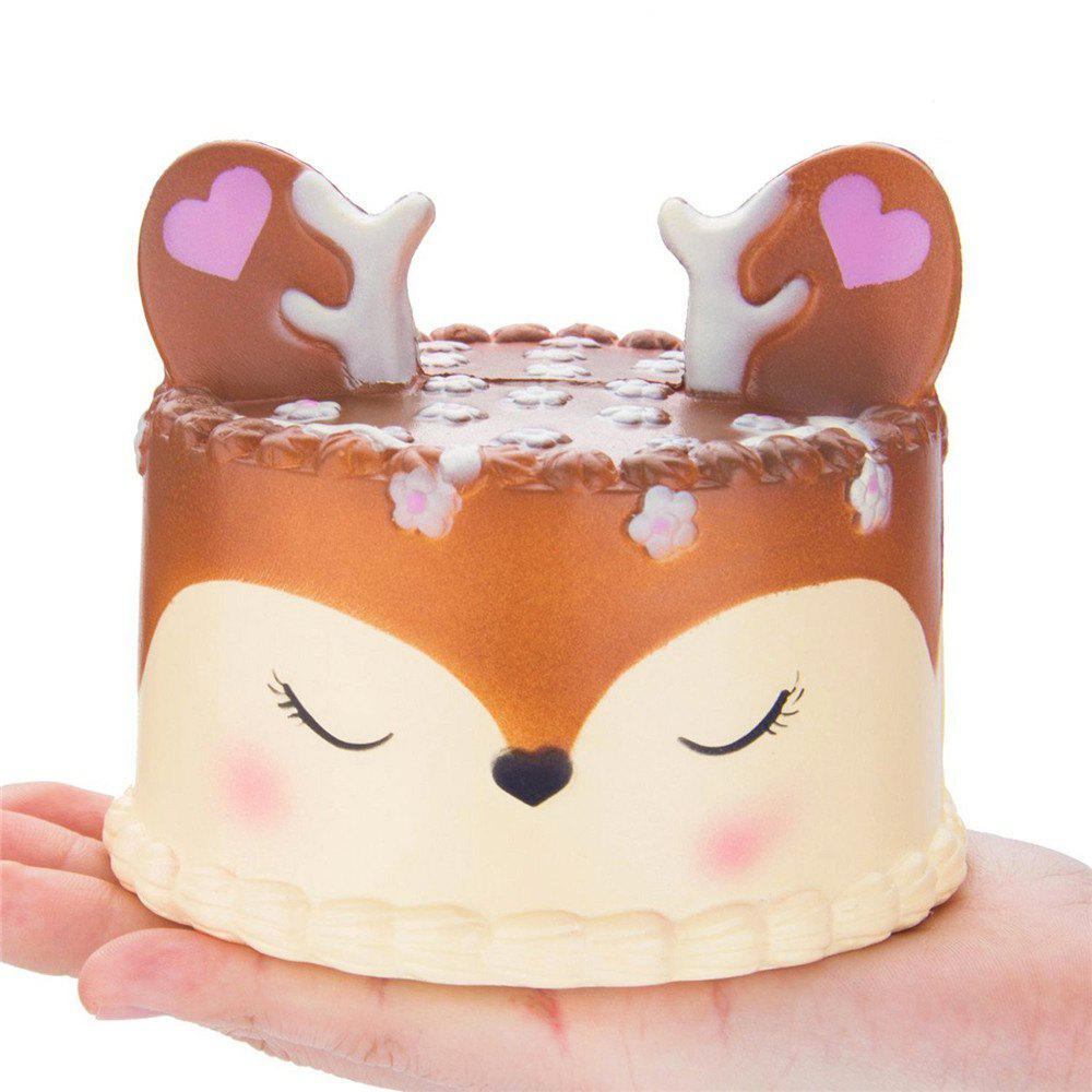 PU Slow Rebound Jumbo Squishy Antler Cake Toys - LIGHT BROWN