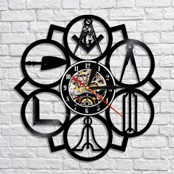 Vinyl Wall Clock Home Decor Birthday Gifts Vintage Style - BLACK WITHOUT BATTERY