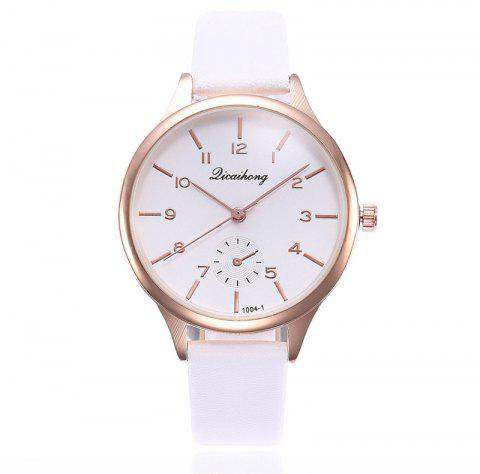 Women Casual Dress Leather Strap Quartz Watch - WHITE