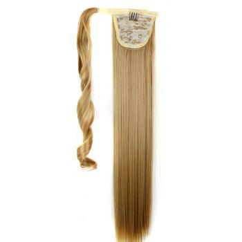 Long Straight Synthetic Wrap Around Ponytail Hairpieces Hair Extension for Women - GOLDEN BROWN 24INCH