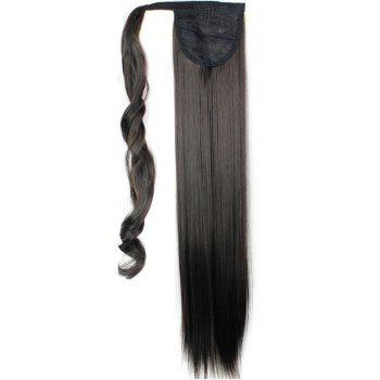Long Straight Synthetic Wrap Around Ponytail Hairpieces Hair Extension for Women - DEEP BROWN 24INCH