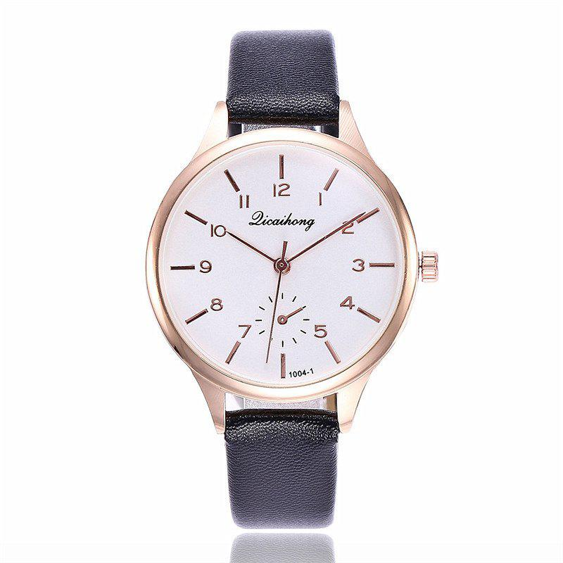 Women Casual Dress Leather Strap Quartz Watch - BLACK