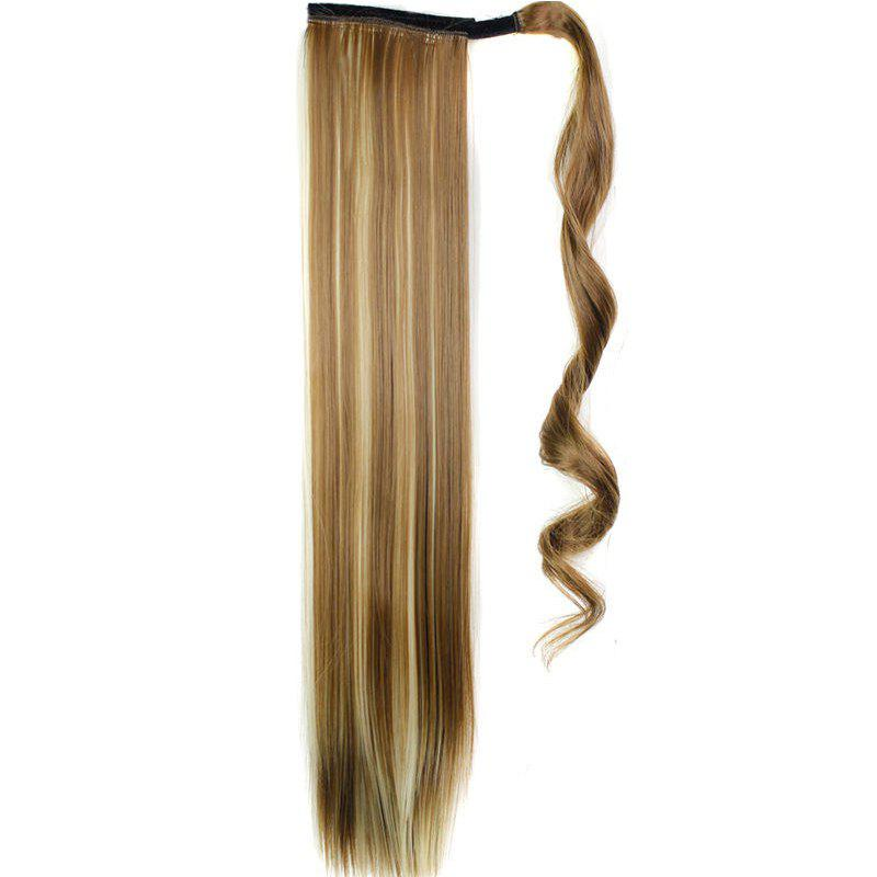 Long Straight Synthetic Wrap Around Ponytail Hairpieces Hair Extension for Women - LIGHT BROWN 24INCH