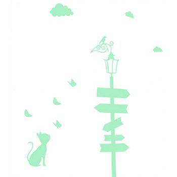 Noctilucent Engraving Adorable Guidepost Cartoon Switch Sticker Wall - DRAGON GREEN