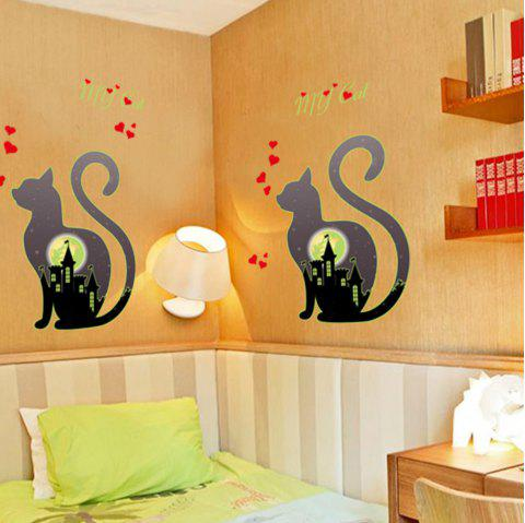 Noctilucent Engraving Adorable Kitty Cartoon Switch Sticker Wall - LIGHT SLATE GRAY