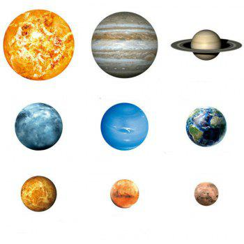 Noctilucent Engraving Nine Planets Cartoon Switch Wall Sticker - multicolor A
