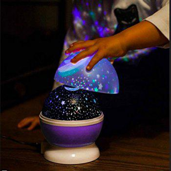 Automatic Rotary Star Projector Moon Colorful USB Led Night Lights - PURPLE