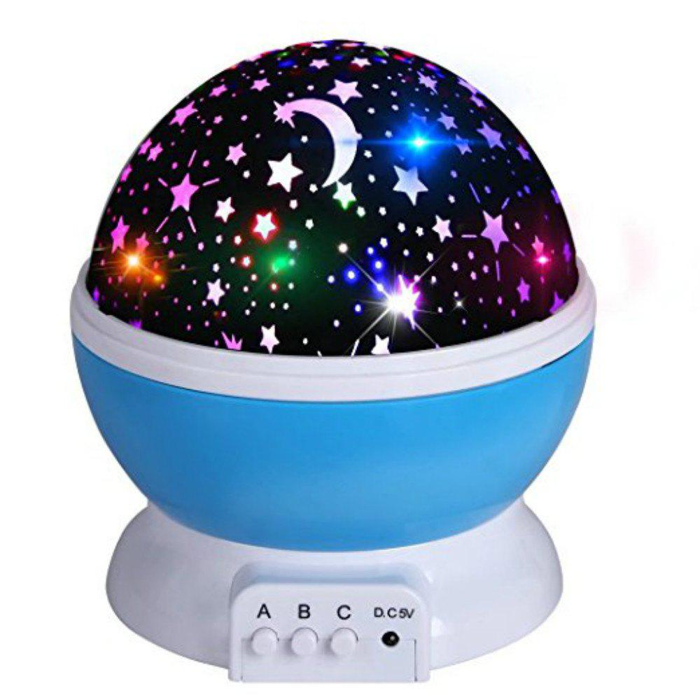 Automatic Rotary Star Projector Moon Colorful USB Led Night Lights - DAY SKY BLUE