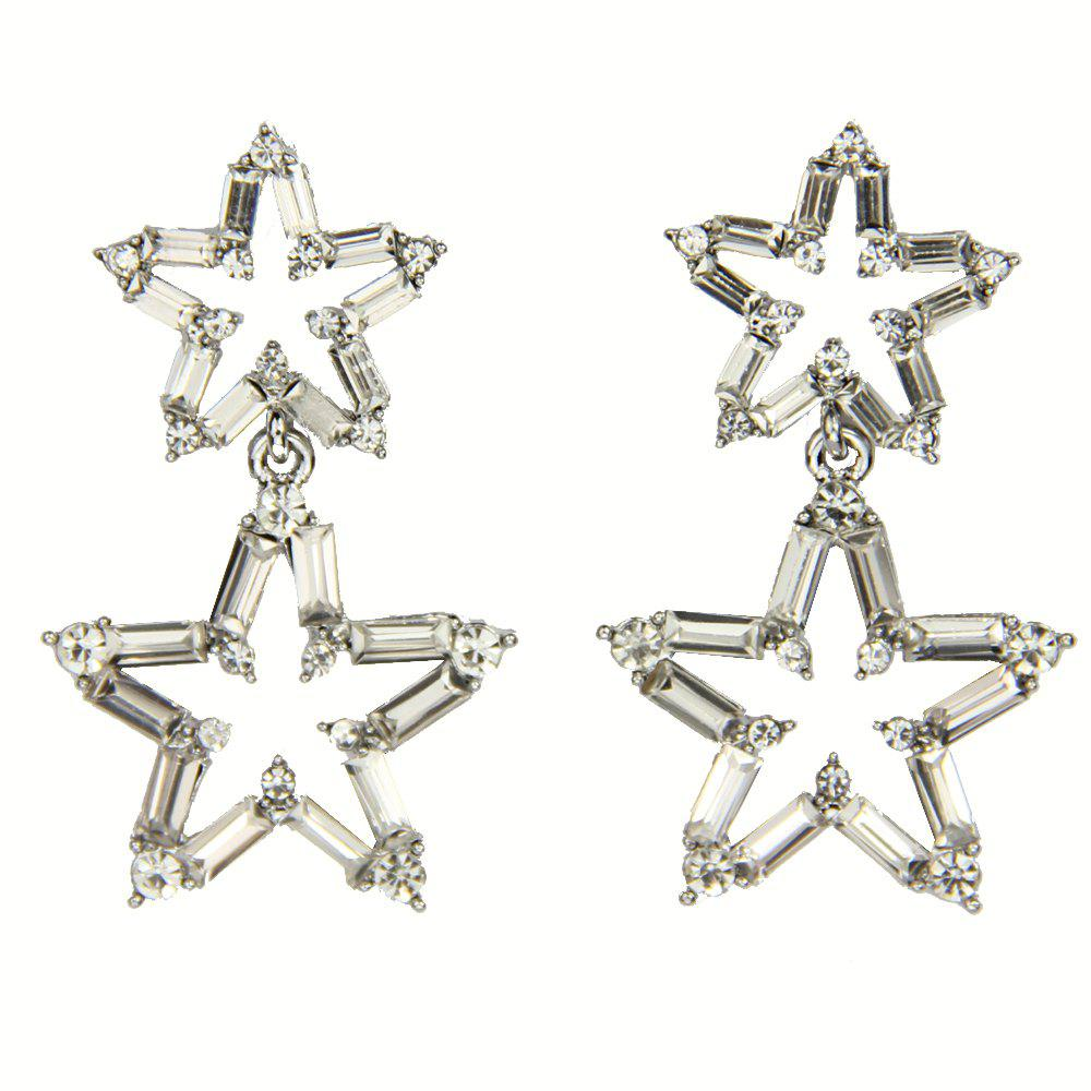 Big and Small Star Fashion Drop Earrings with Glittering Crystal