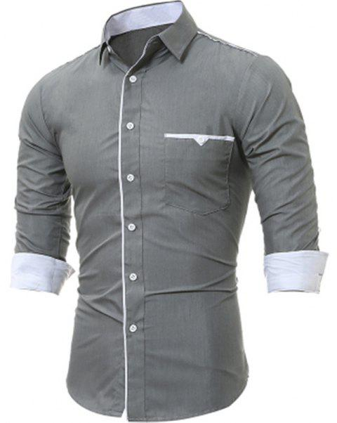 New Patch Pockets Men's Casual Slim Long-Sleeved Shirt - GRAY 2XL