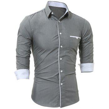 New Patch Pockets Men's Casual Slim Long-Sleeved Shirt - GRAY L